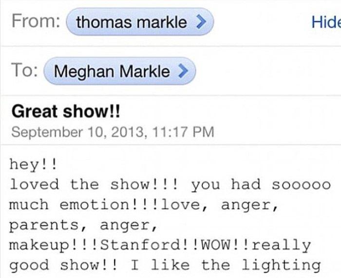 Скриншот сообщения от отца, в котором он говорит, что гордится шоу Меган.