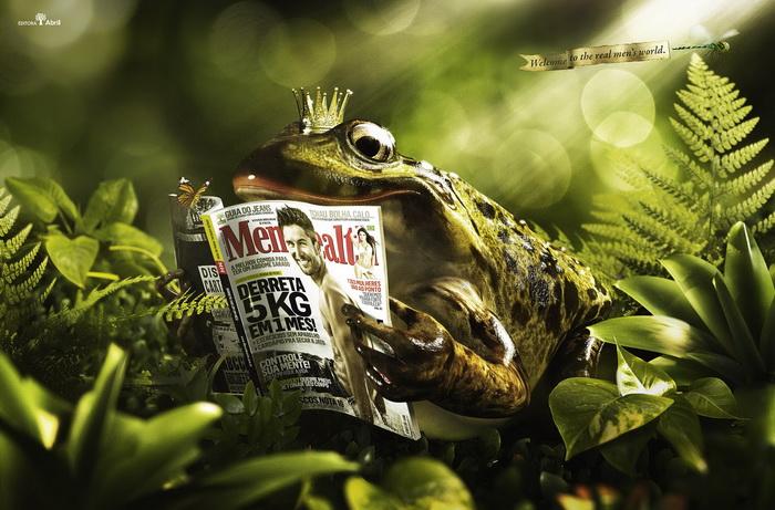 Лягушачий король с мужским журналом Men's Health