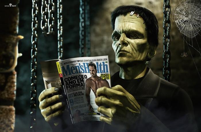 Франкенштейн с мужским журналом Men's Health