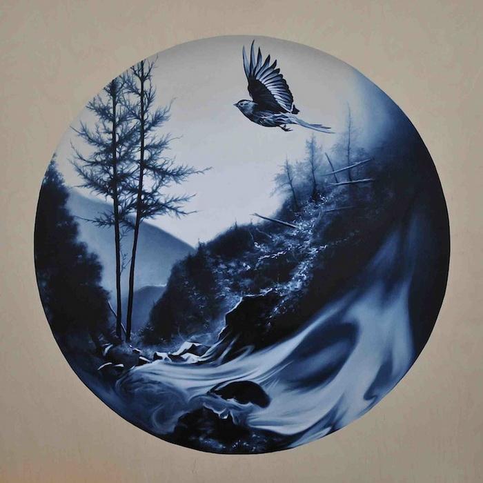Рисунки Майкла Пека, выполненные на дереве