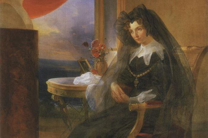 Портрет Елизаветы Алексеевны в трауре рядом с бюстом супруга. Худ. П. Басин (1831)