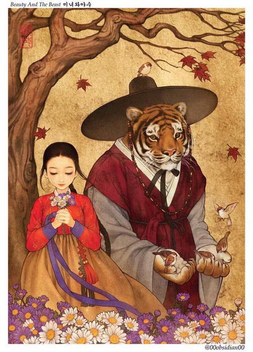 Красавица и чудовище: иллюстрация корейской художницы Nayoung Wooh