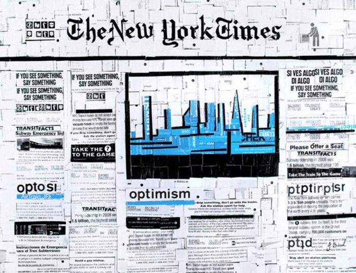 Изображение культовой американской газеты из использованных карточек на метро