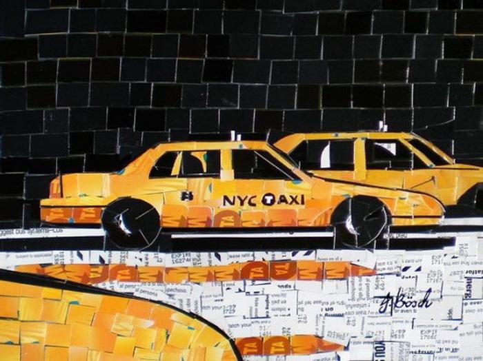 Мозаика с изображением традиционного желтого такси