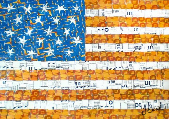 Американский флаг из использованных карточек на метро