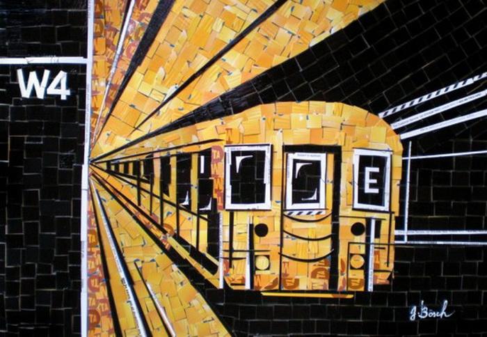 Мозаики из использованных карточек на метро