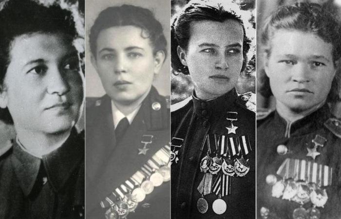 Неразлучная четверка. Летчицы-героини Рая Аронова, Полина Гельман, Наташа Меклин и Ира Себрова.