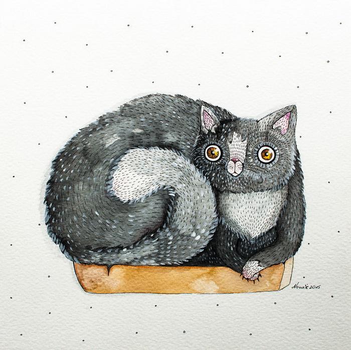 Кошачьи акварели от Nora