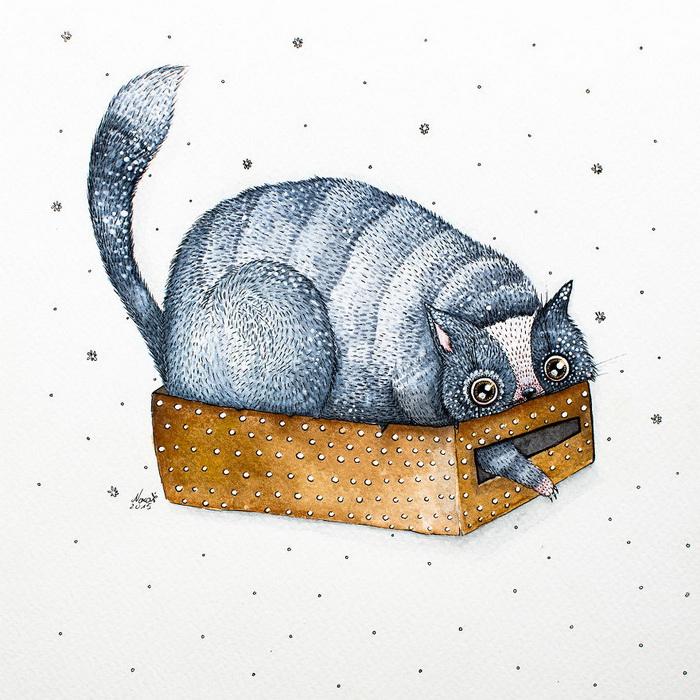 Акварели о жизни котов от Nora