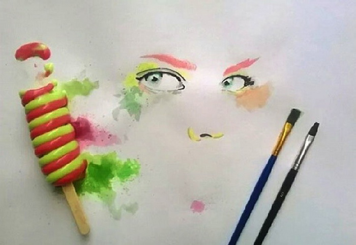 Мороженое вместо красок: рисунки от Отмана Тома (Othman Toma)