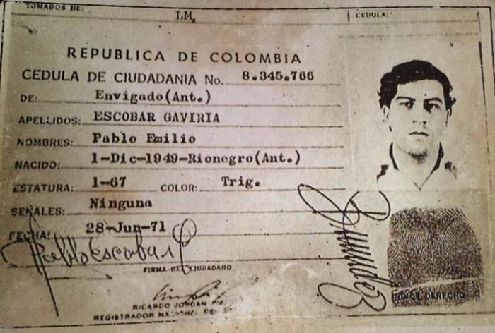 Колумбийский паспорт Пабло Эскобара.