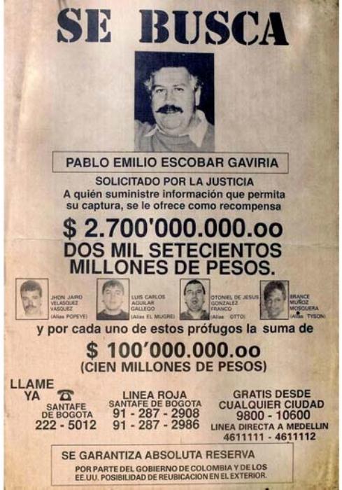 Плакат о розыске Пабло Эскобара.