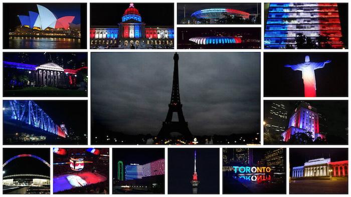 Мировые достопримечательности в цветах французского триколора