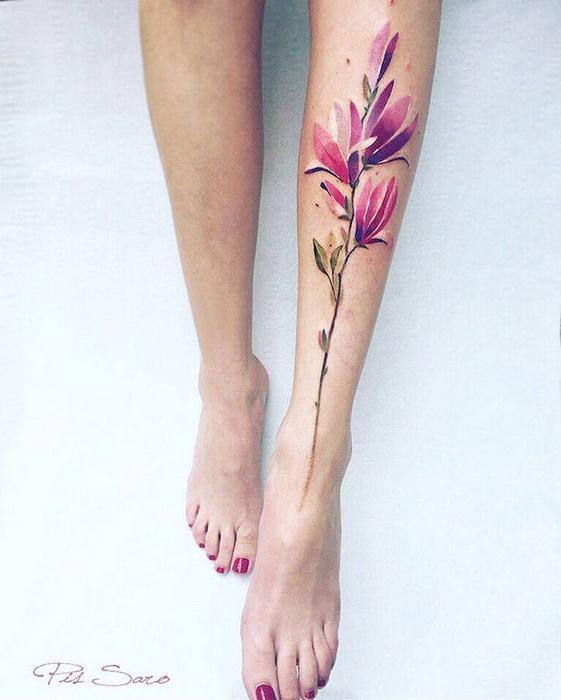Цветочные татуировки от крымской художницы