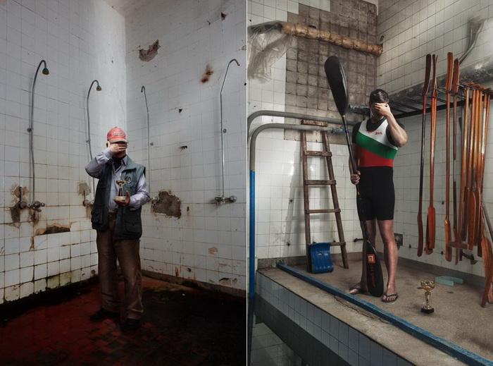 Портреты позора: знаменитые болгарские спортсмены на фоне полуразрушенной гребной базы