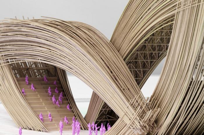 *Бамбуковые* ворота в форме причудливого каллиграфического узора