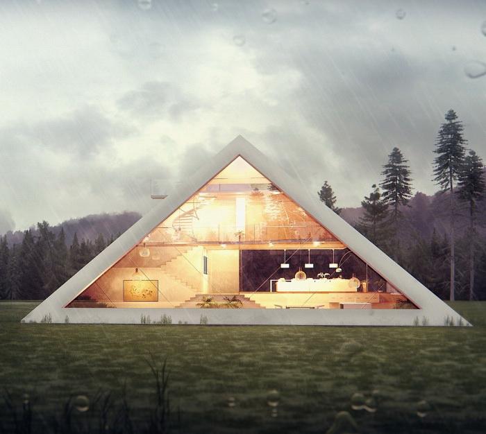 Огромное окно придает легкость и воздушность конструкции