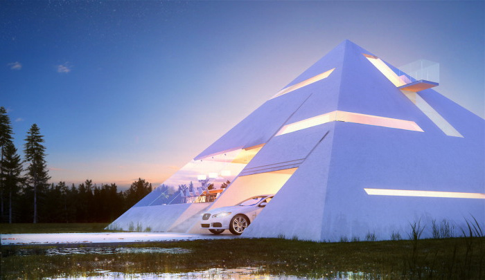 В треугольном доме есть балкон и гараж