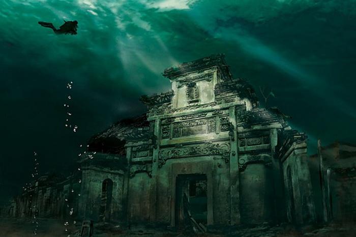 Фото города на дне Озера тысячи островов в Китае