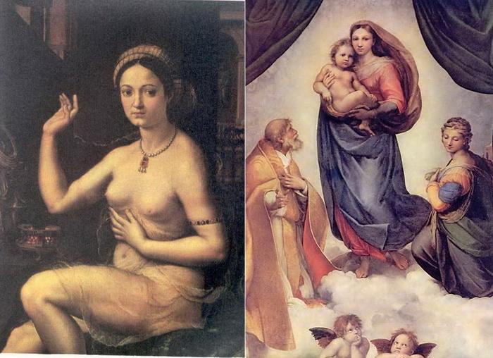 Маргарита Лути - муза Рафаэля Санти. Ее образ запечатлен на многих полотнах художника