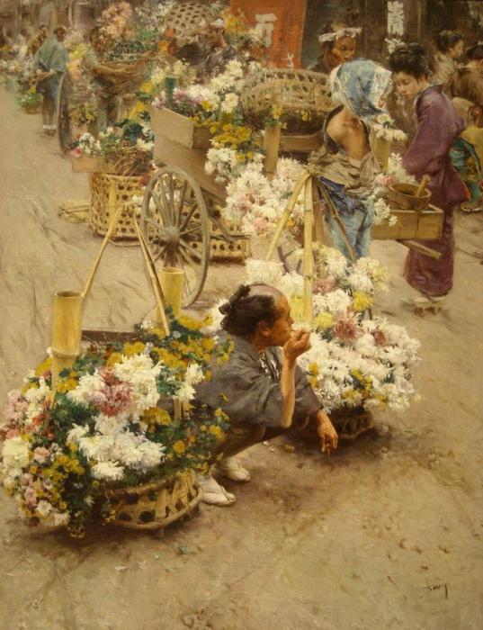 Цветочный рынок в Токио, Роберт Фредерик Блюма