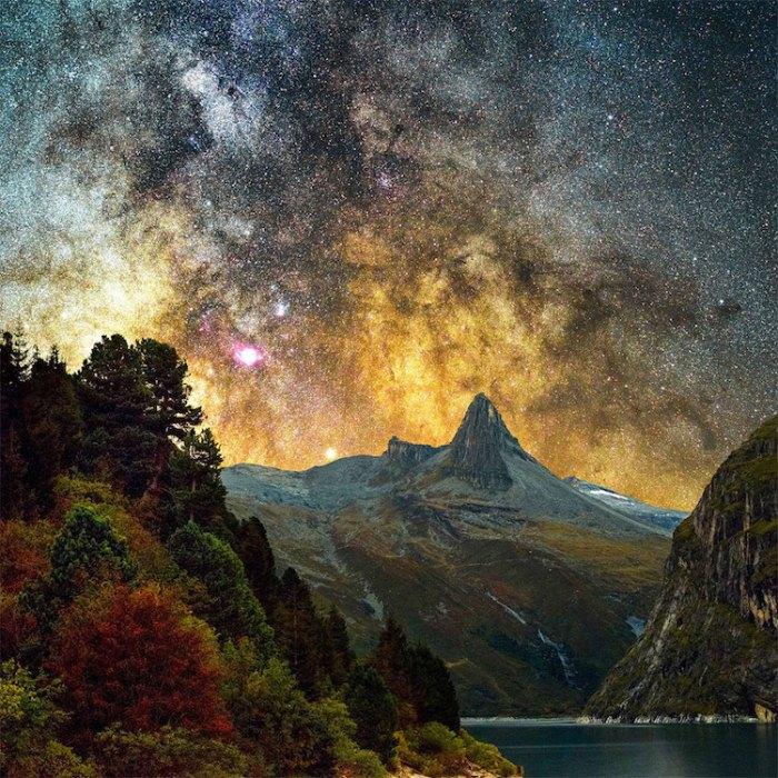 Вид на галактику Андромеды. Фото сделано в Швейцарии