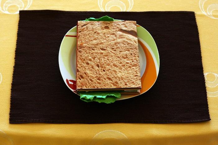 Обложка книги напоминает настоящий сэндвич