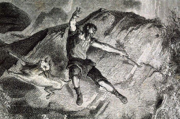 Александр Селькирк на необитаемом острове. Гравюра из собрания Mary Evans Picture Library