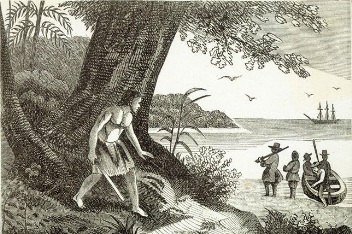Александр Селькирк на острове. Гравюра из собрания Mary Evans Picture Library