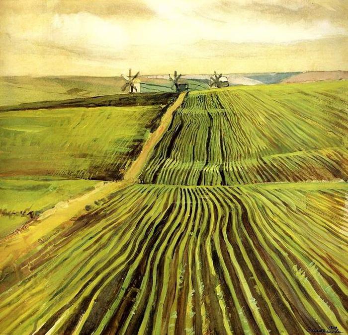 Гуашь 'Зеленя осенью', картина хранится в Третьяковской галерее