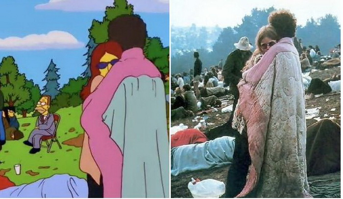 Вудсток: фотография с фестиваля и кадр из мультфильма про Симпсонов