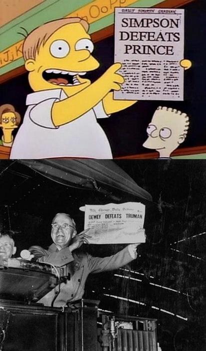 Газета Chicago Tribune с новостью о том, что Дьюи победил Трумэна, а Симпсон - принца