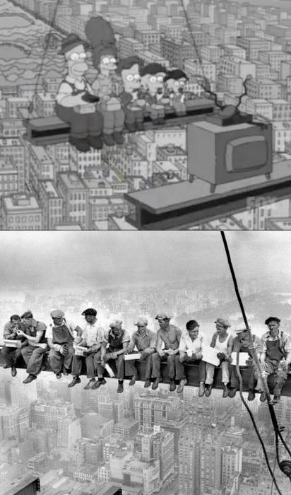 Рабочие на небоскребе Эмпайр-стейт-билдинг