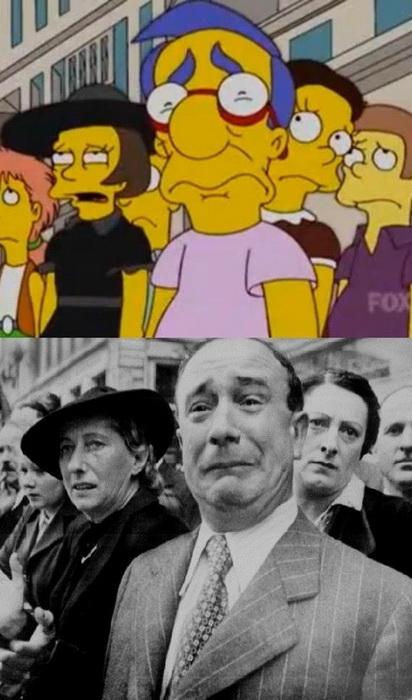 Пародия Симпсонов на то, как французы встречают нацистских оккупантов во время Второй мировой войны