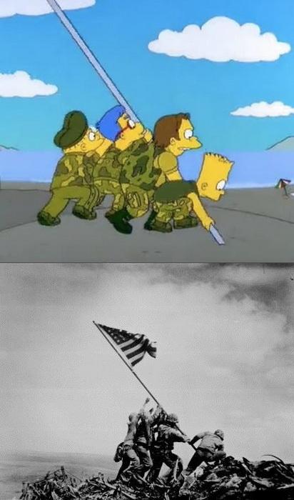 Аллюзия на битву за Иводзиму: американские военные устанавливают флаг на острове в Японии
