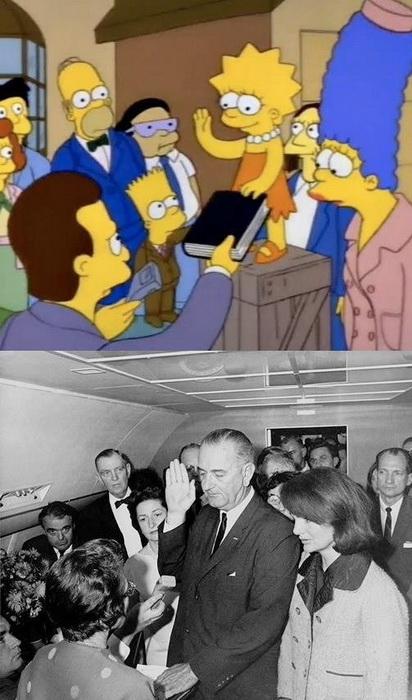 Узнав о смерти Кеннеди, Джонсон дает присягу на верность американскому народу на борту самолета