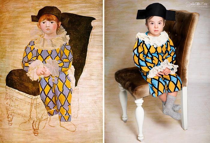 Поль в костюме Арлекино, Пикассо. Фотореконструкция от Soela Zani