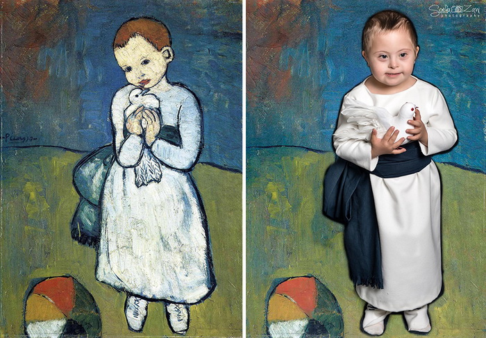 Ребенок с голубем, Пикассо. Фотореконструкция от Soela Zani