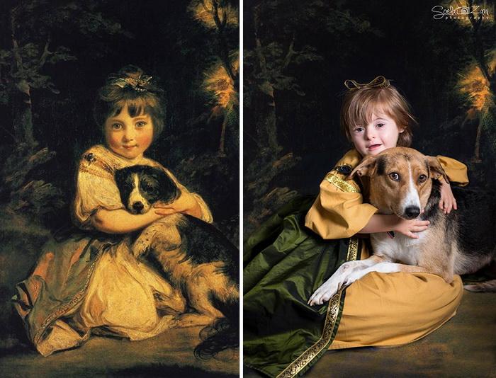 Портрет мисс Боулз с собакой, Джошуа Рейнолдс. Фотореконструкция от Soela Zani