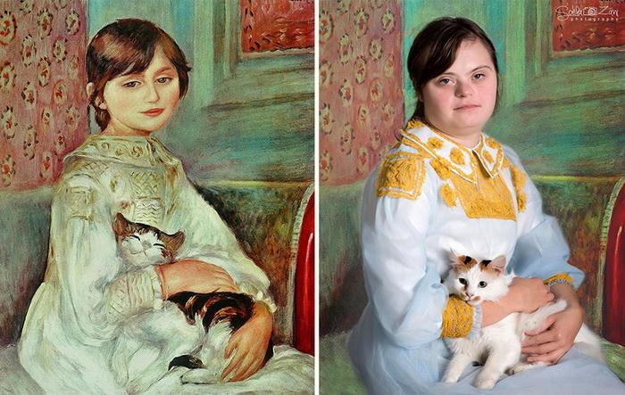 Ребенок в кошкой Жюли Моне,  Ренуар. Фотореконструкция от Soela Zani