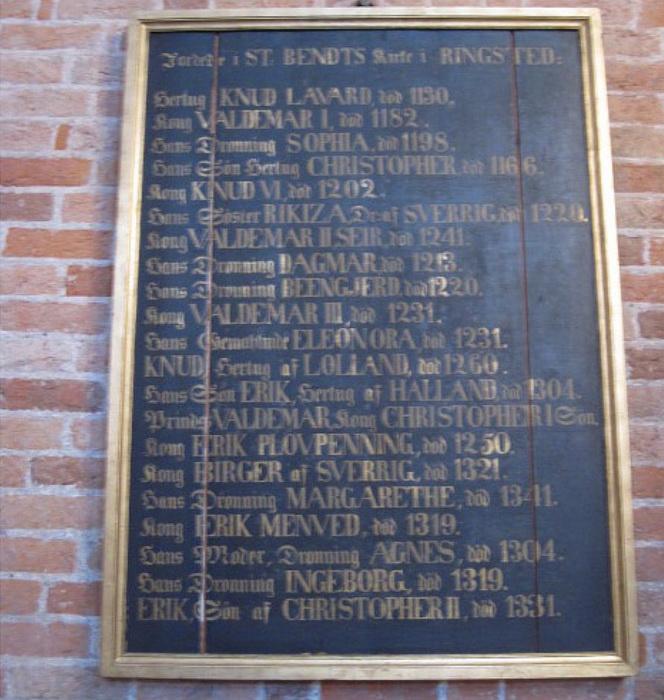 Надгробная плита с именами датских монархов.
