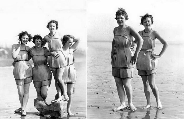 Девушки в купальниках из шпона.