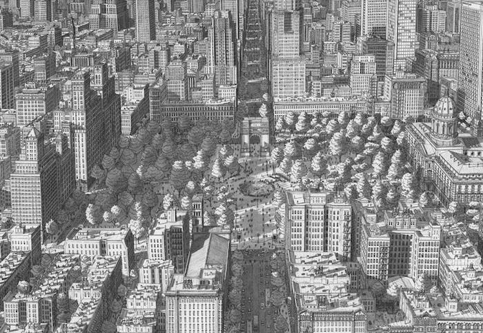 Урбанистические пейзажи от Стефана Бликроуда (Stefan Bleekrode): парк Washington Square в Нью-Йорке
