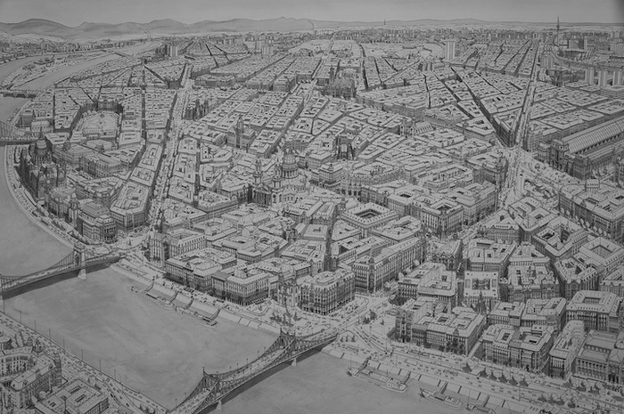 Урбанистические пейзажи от Стефана Бликроуда (Stefan Bleekrode): город на берегу Дуная