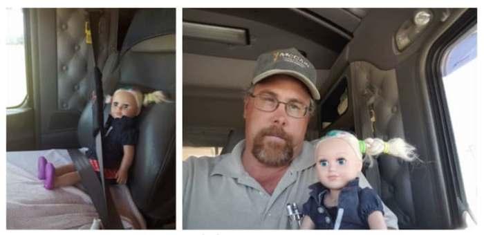 Дальнобойщик стал на день нянькой для куклы дочери.
