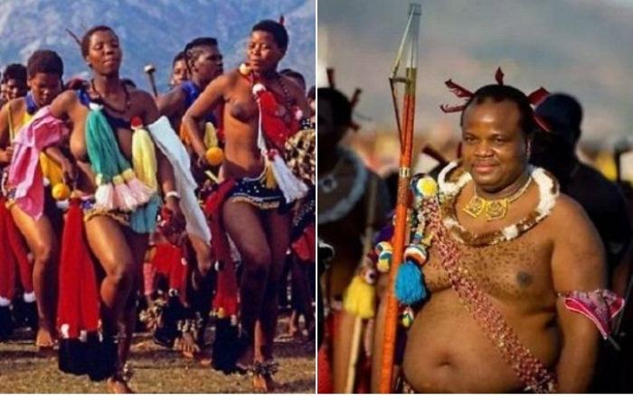 Девушки на параде девственниц и король Свазиленда Мсвати III.