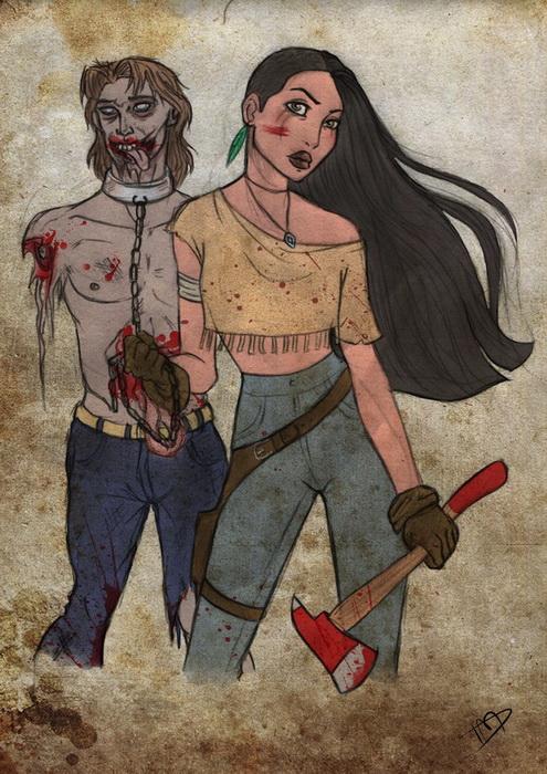 Покахонтас и Джон. Иллюстрация от Kasami-Sensei