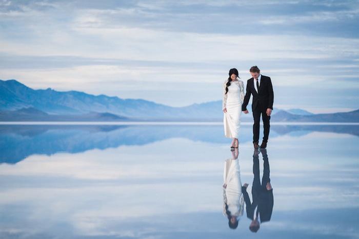 Фантастическая свадебная фотосессия на соляном озере Бонневилль Солт Флэтс (штат Юта, США)