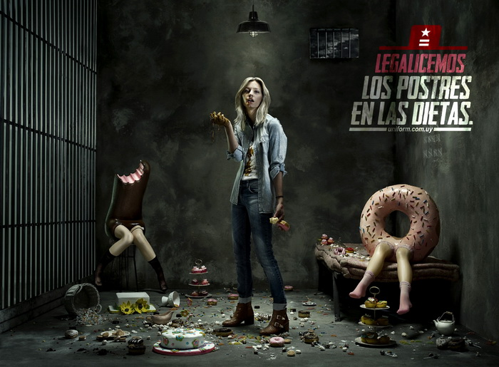 Серия забавных плакатов от Uniform Jeans: *Legalize sweets on diets*