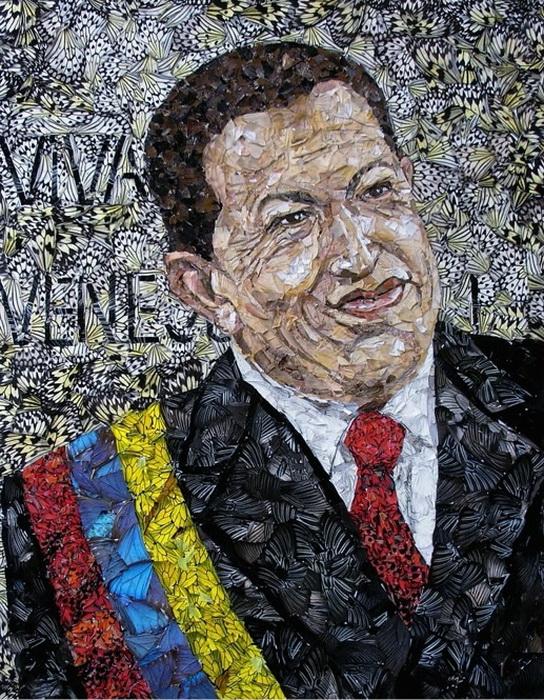 Из крыльев бабочек Вадим Зарицкий нередко создает портреты политических деятелей